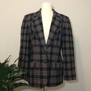 PENDLETON vintage plaid blazer 💯% virgin wool 10